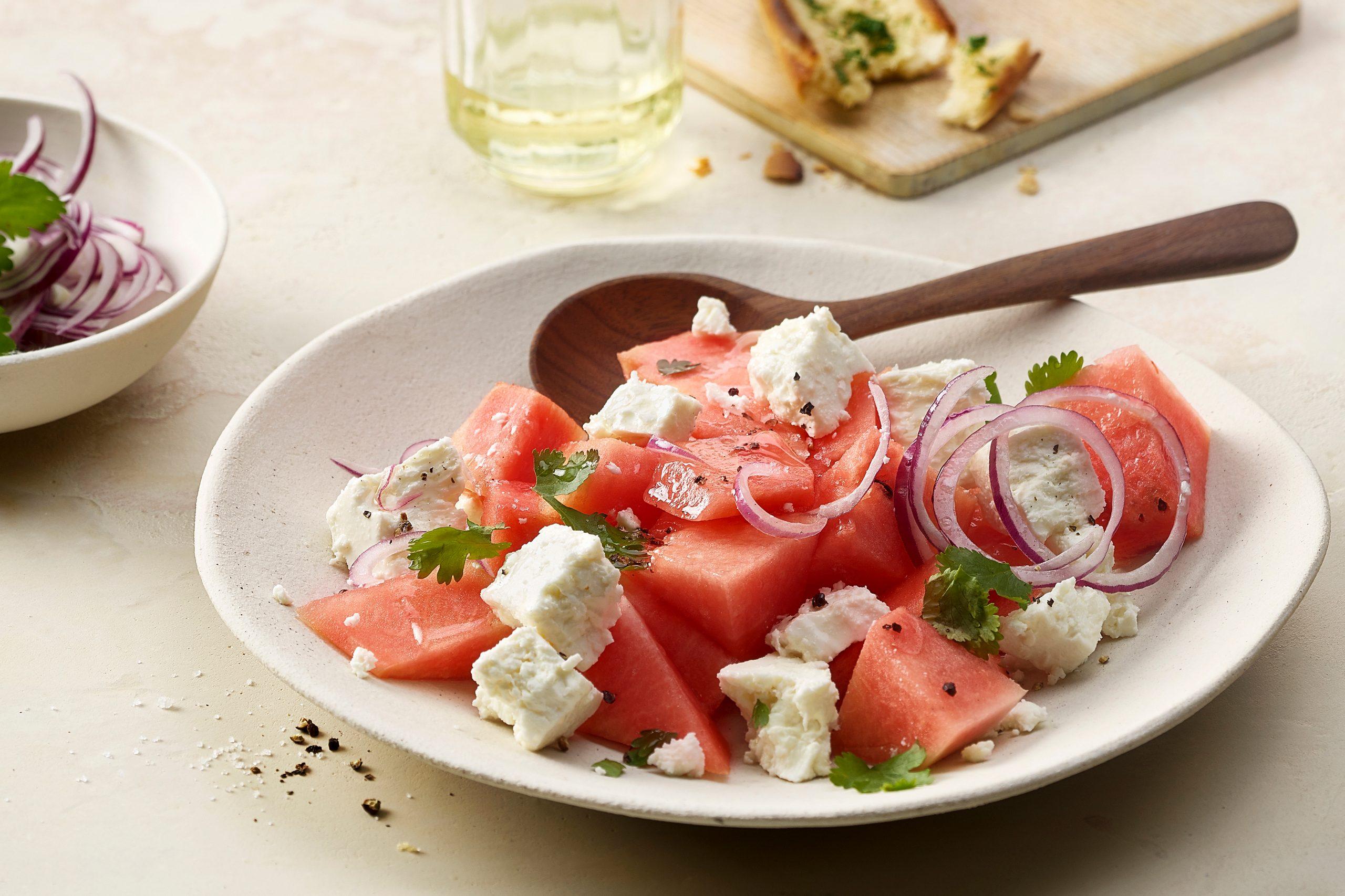 Wassermelonen-Frischkäse-Salat