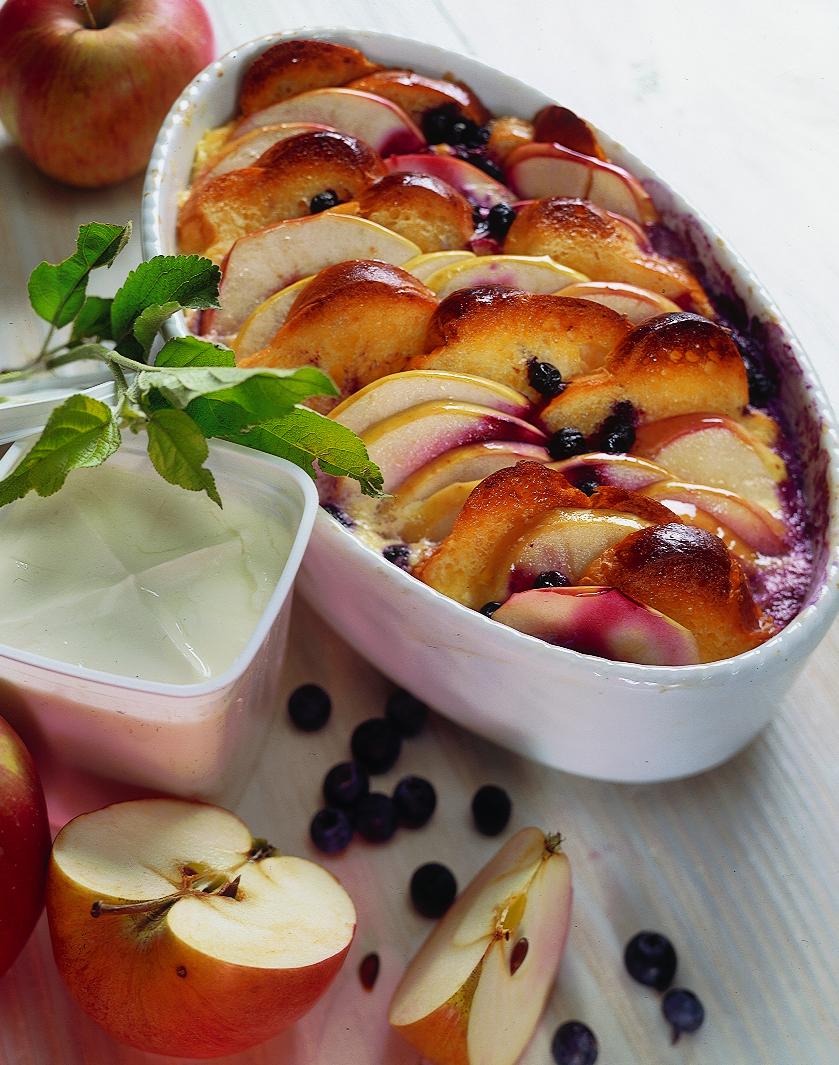 Gratin aux pommes et aux myrtilles