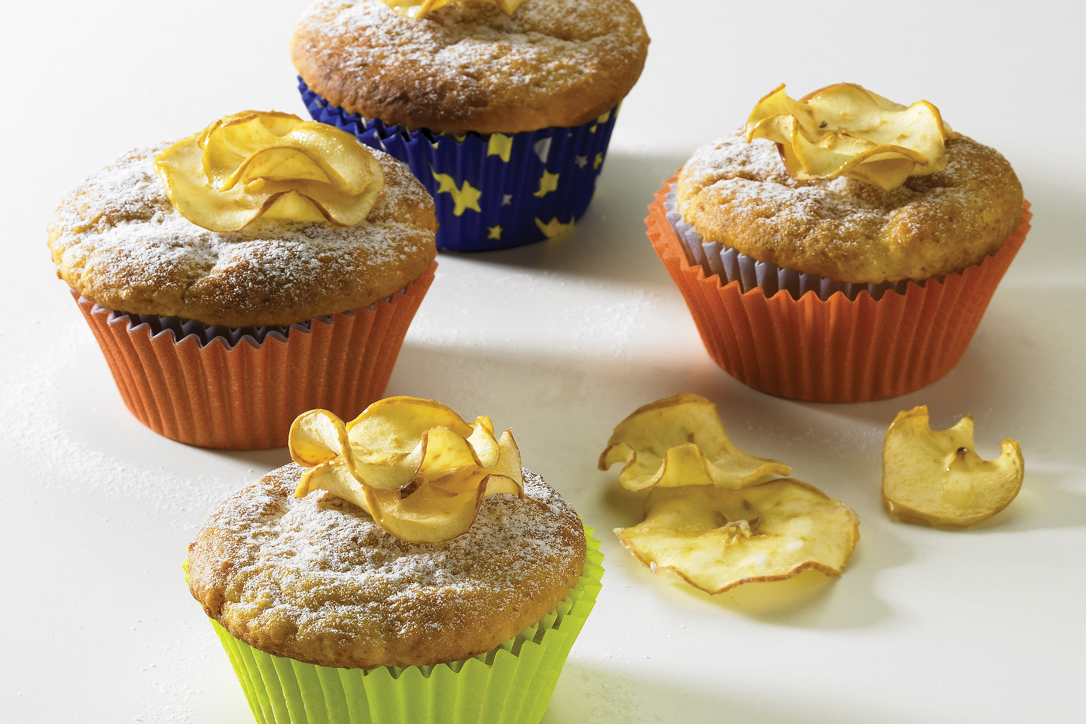 Apfel-Muffins mit Apfelchips