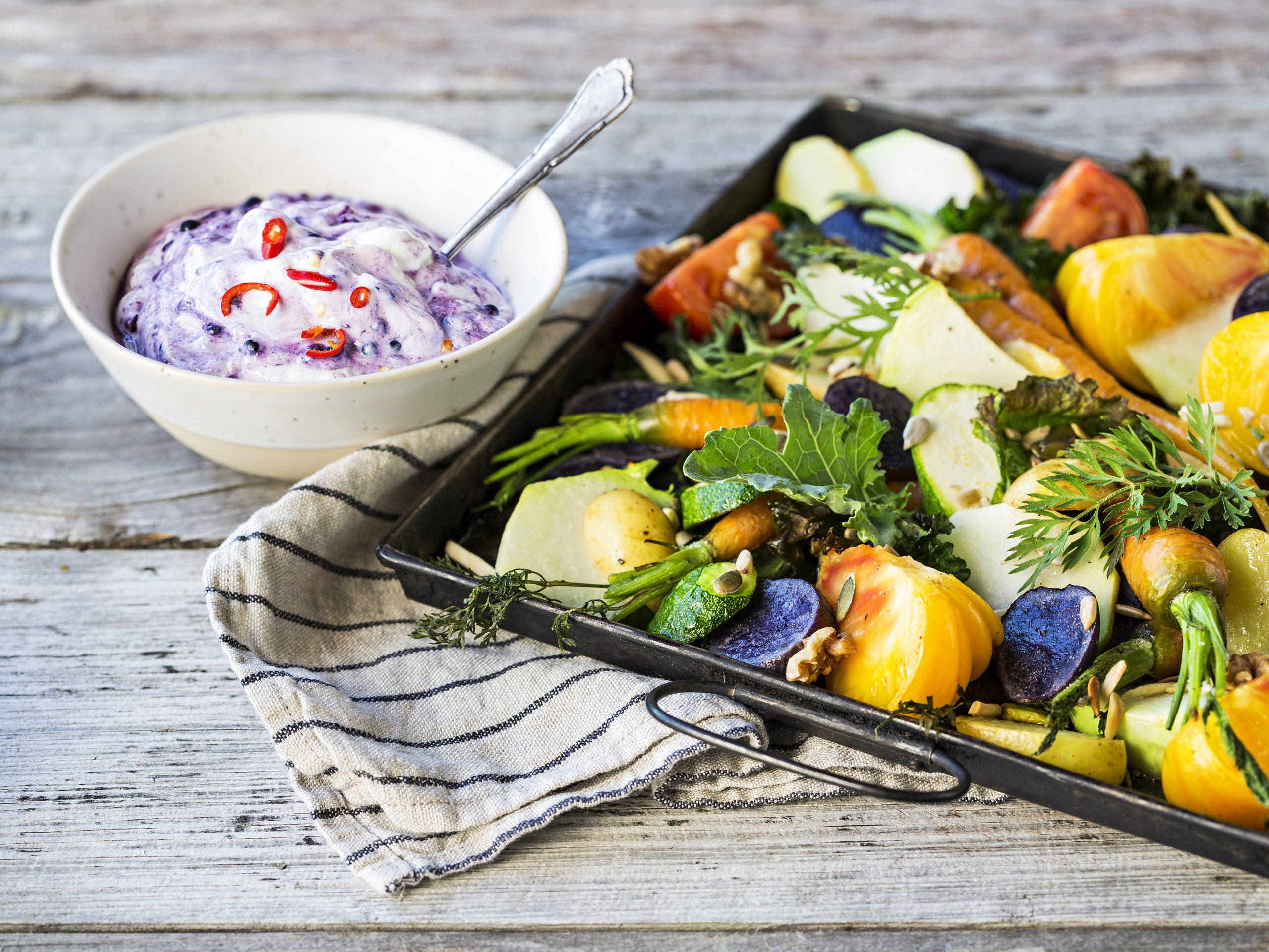 Légumes au four et séré fruits rouges-piment