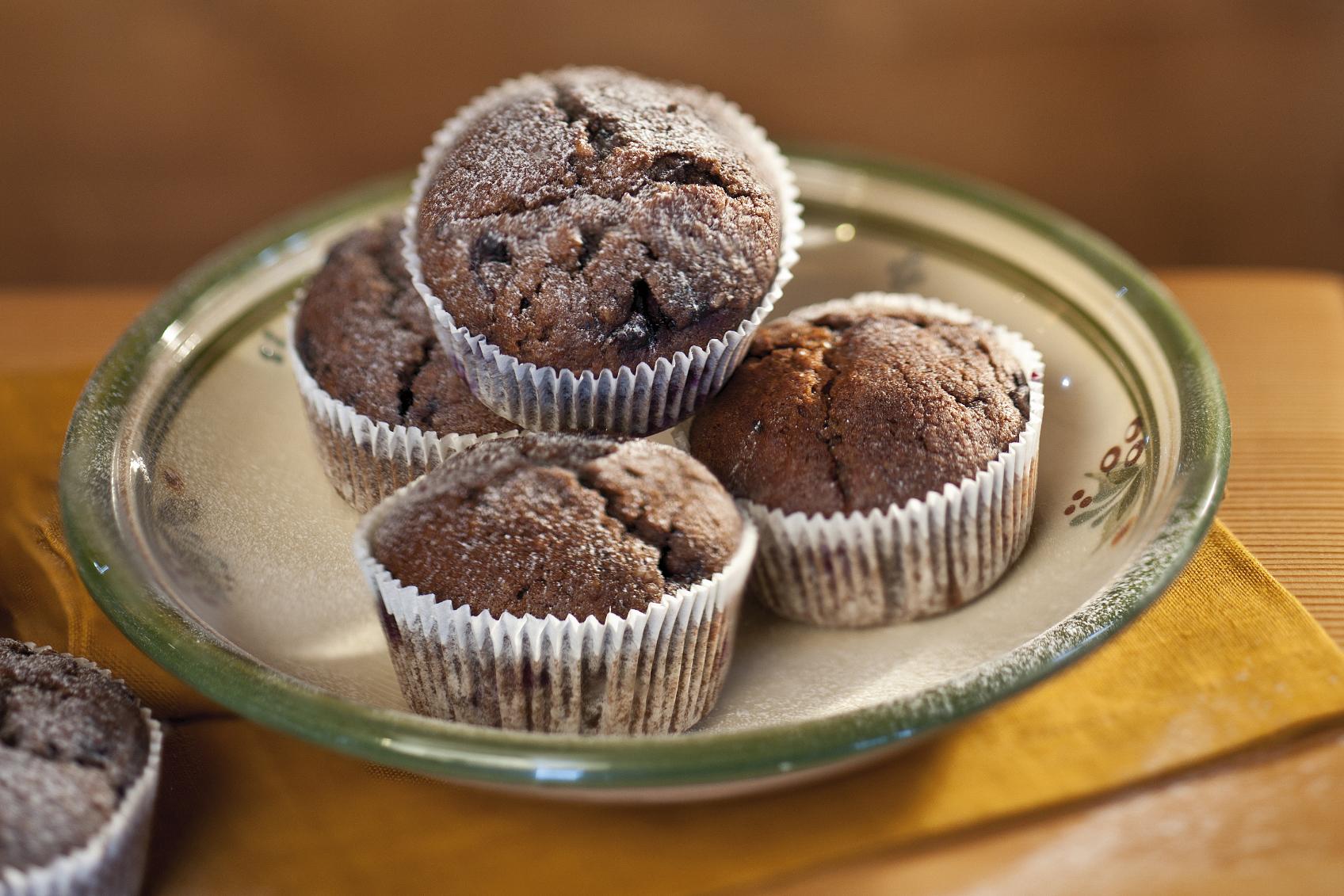 Muffins aux myrtilles et aux amandes