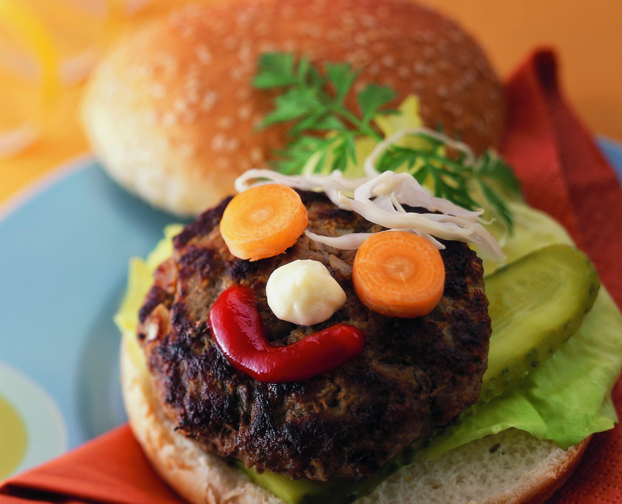 Hamburger boeuf-légumes rigolo
