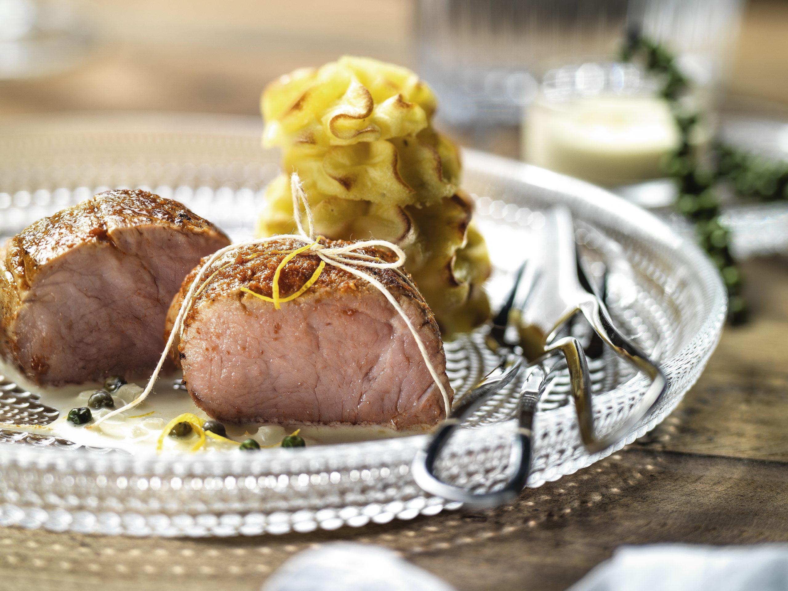 Curry-Filet zu Duchesse-Bäumchen