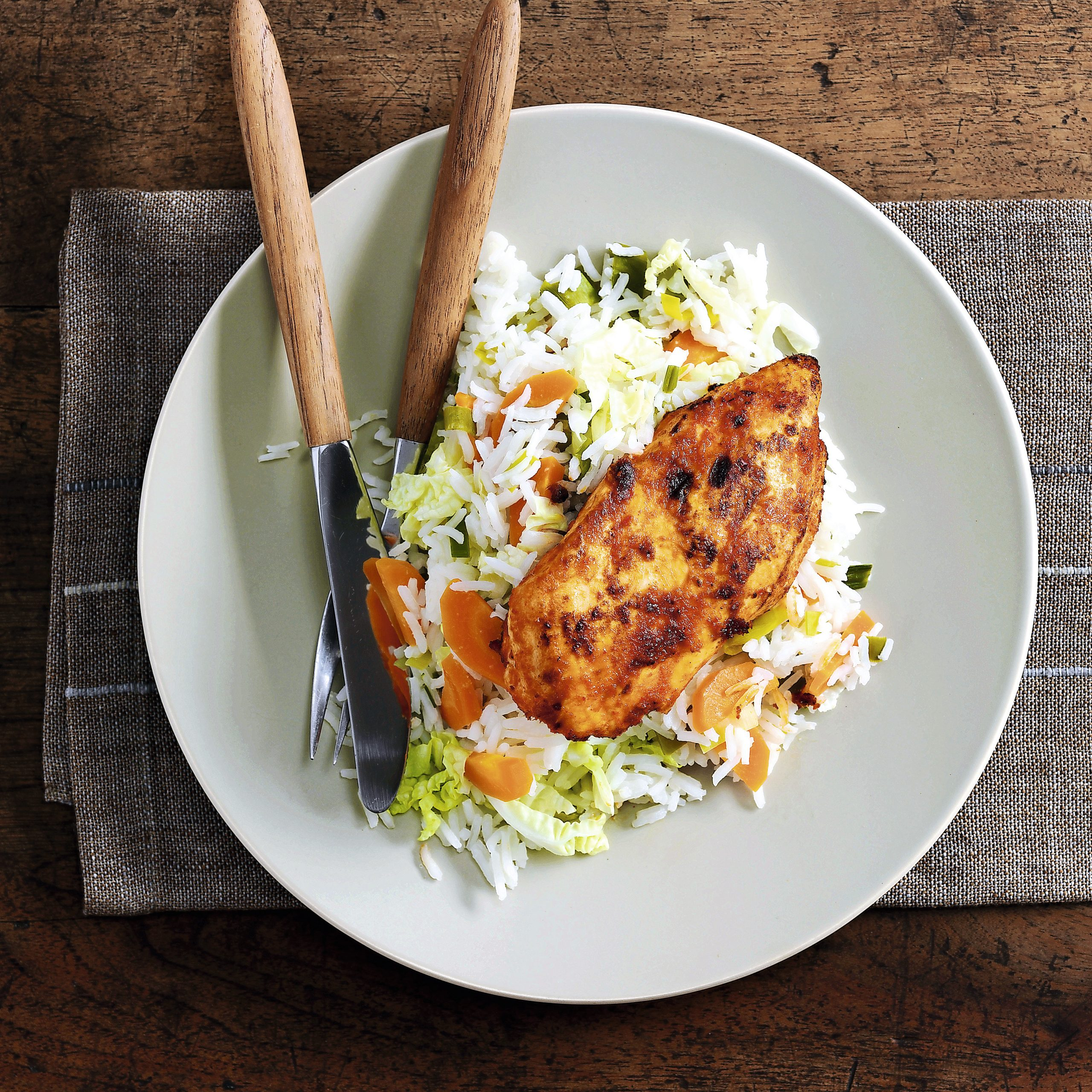 Curry de poulet et riz aux légumes