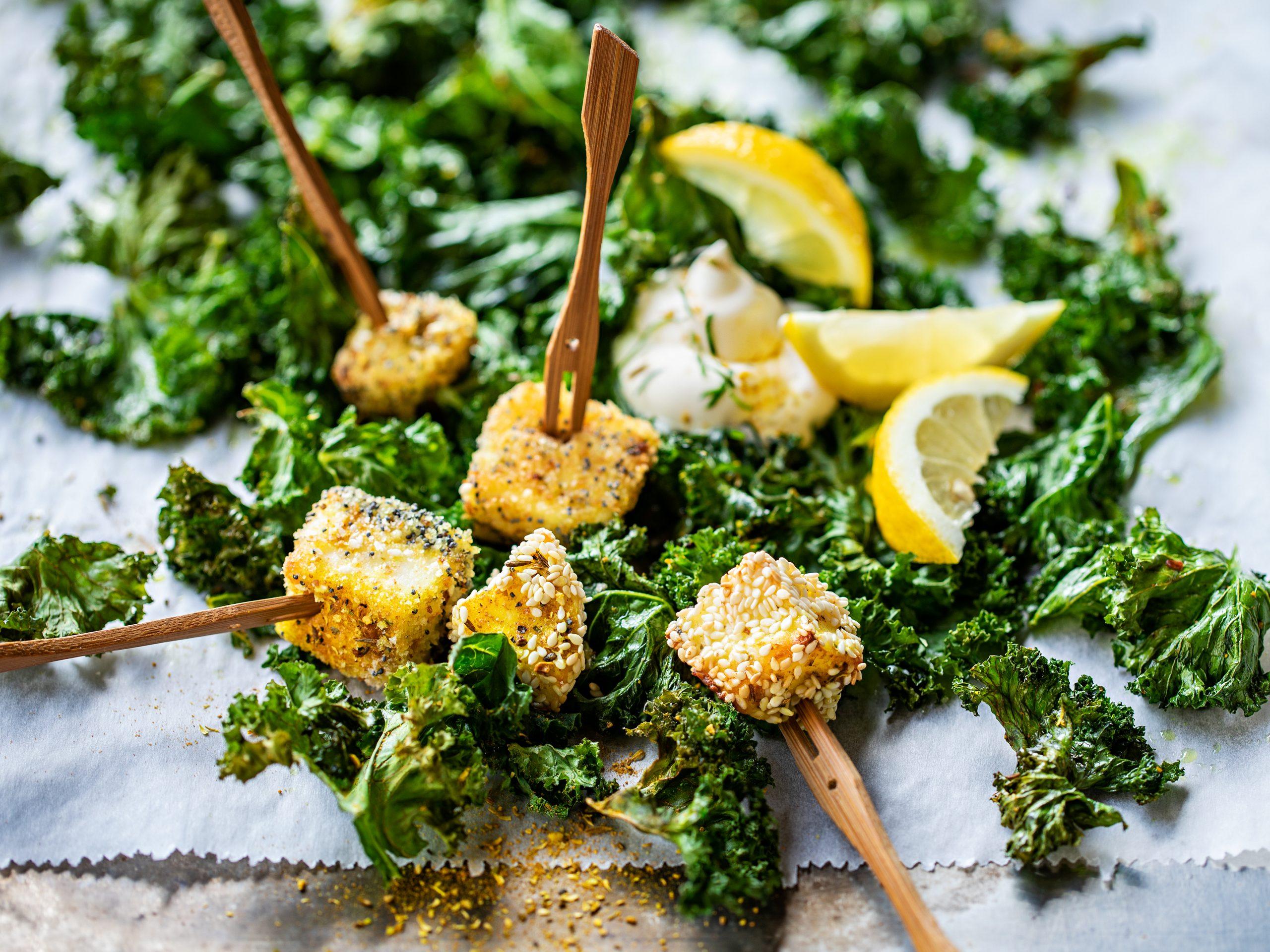 Chips de chou kale et fromage à griller pané