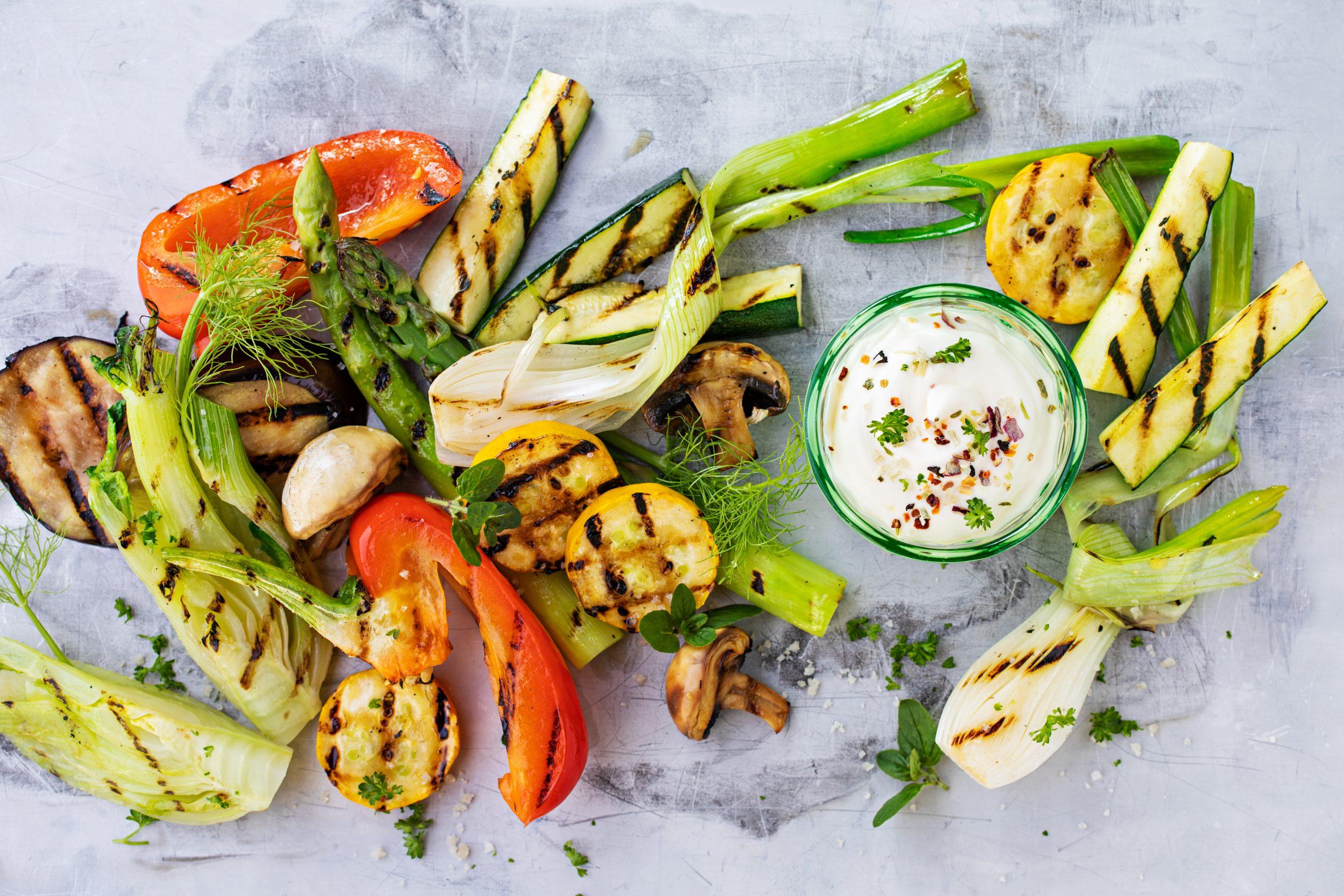 Légumes grillés et crème acidulée