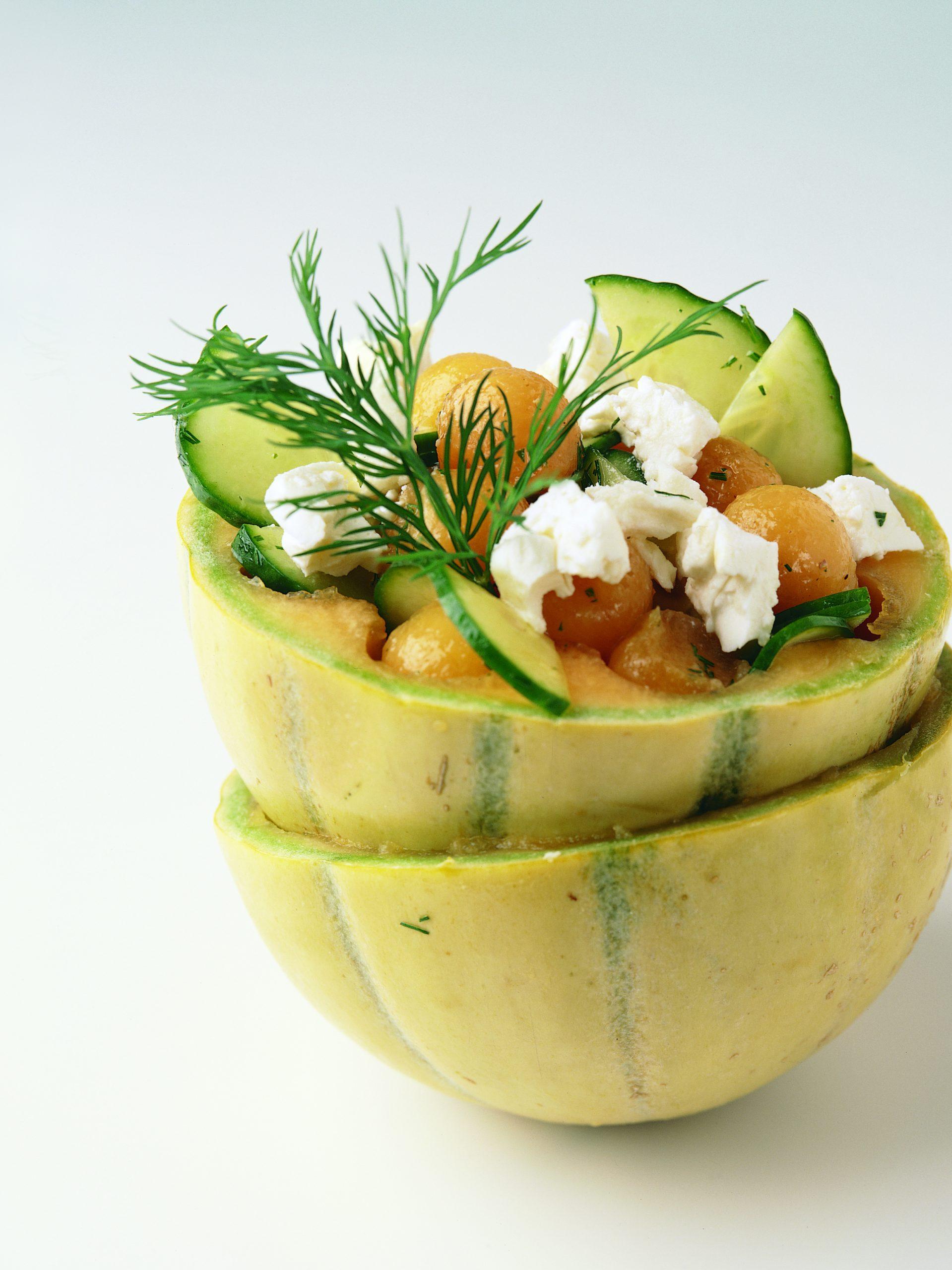 Salade de melon, de concombre et de fromage frais