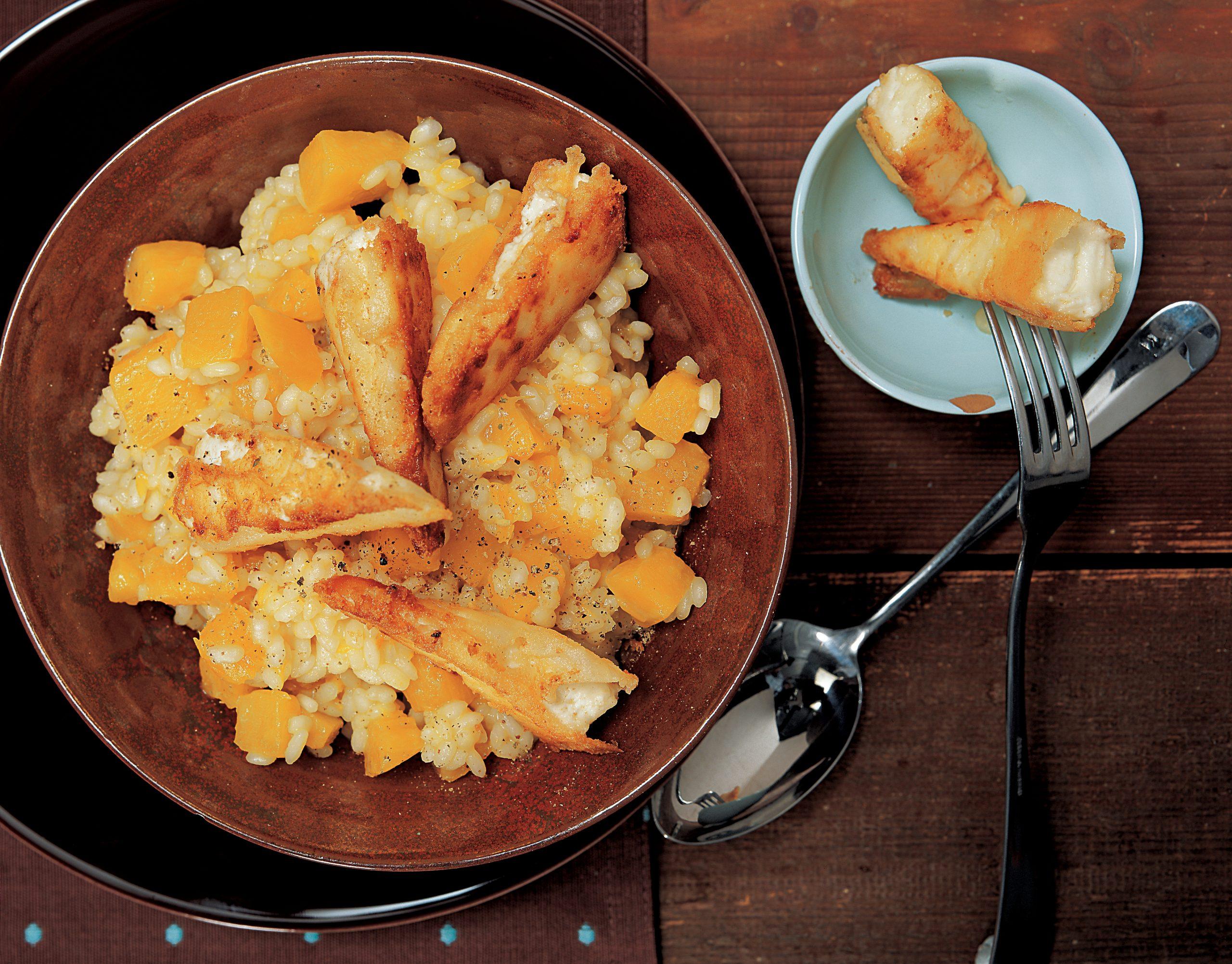 Kürbisrisotto mit gebratenem Frischkäse