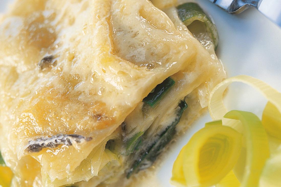 Lasagnes au poireau et au fromage