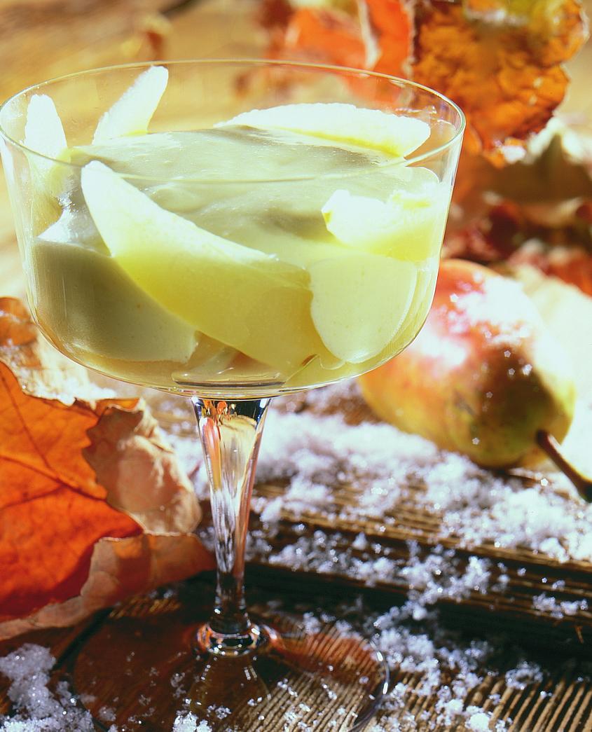 Sabayon à la Malvoisie et compote de poires