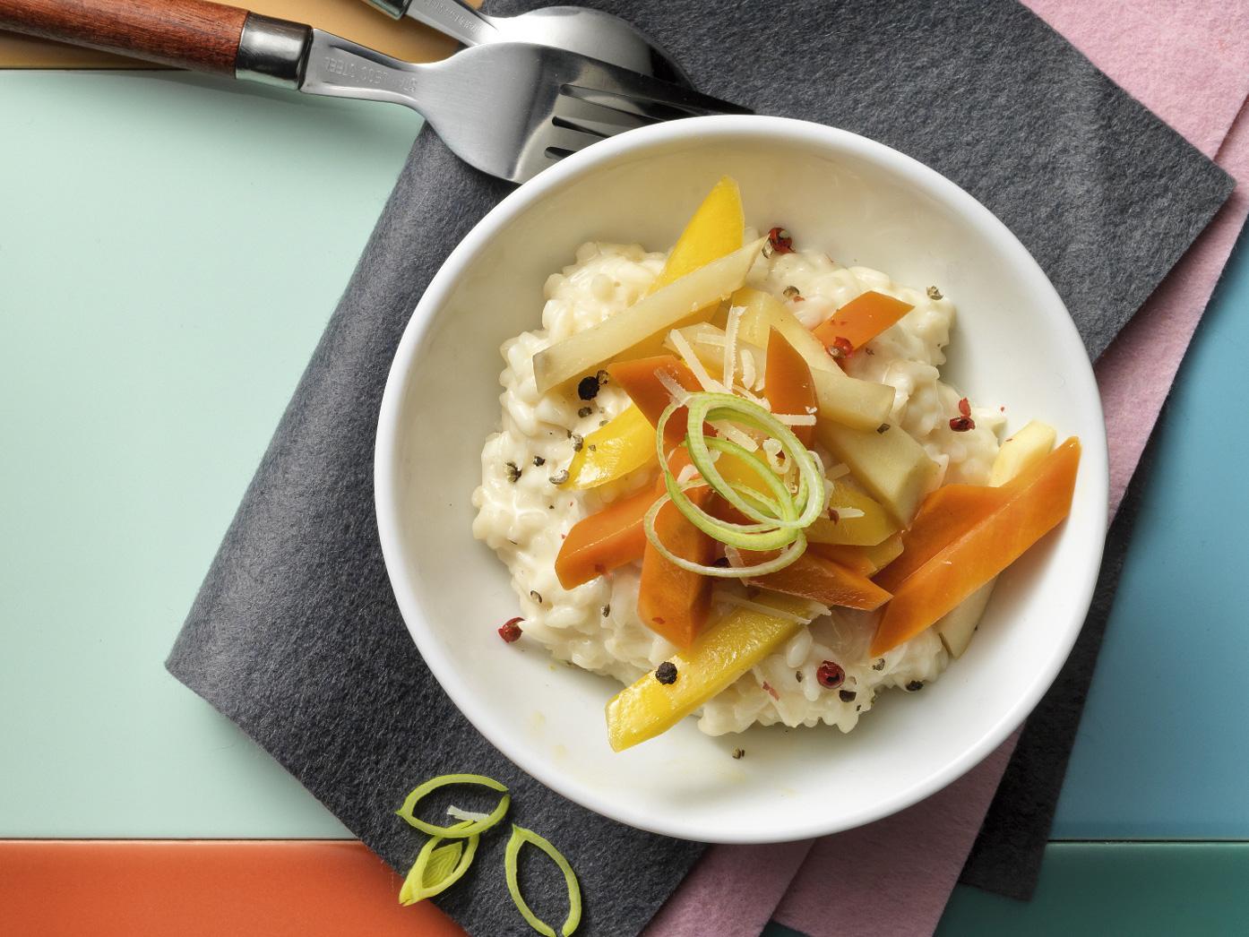 Pfeffer-Risotto mit caramelisiertem Gemüse