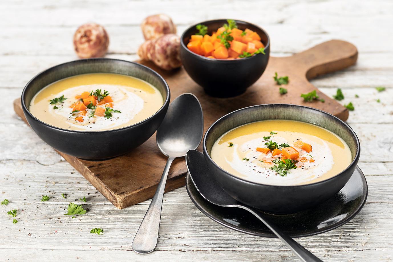 Velouté de topinambour, carotte et poireau