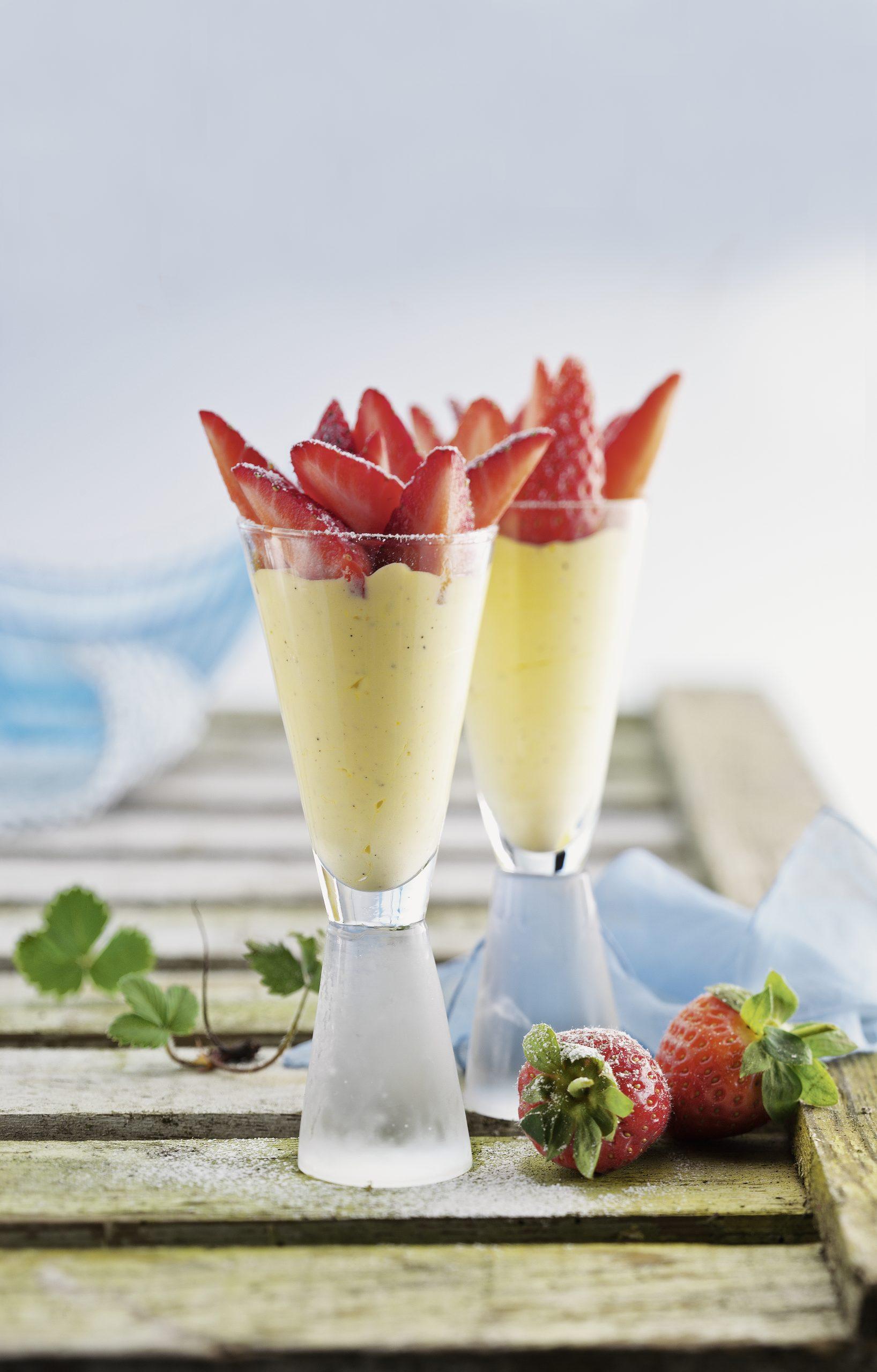 Parfait vanillé et safrané aux fraises