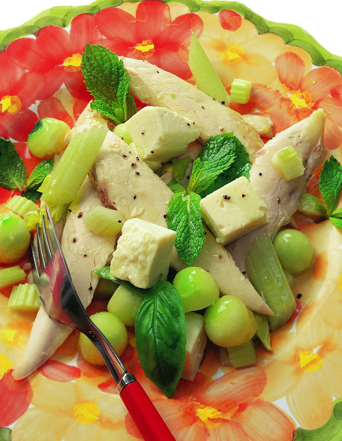 Salade de poulet tiède au fromage frais