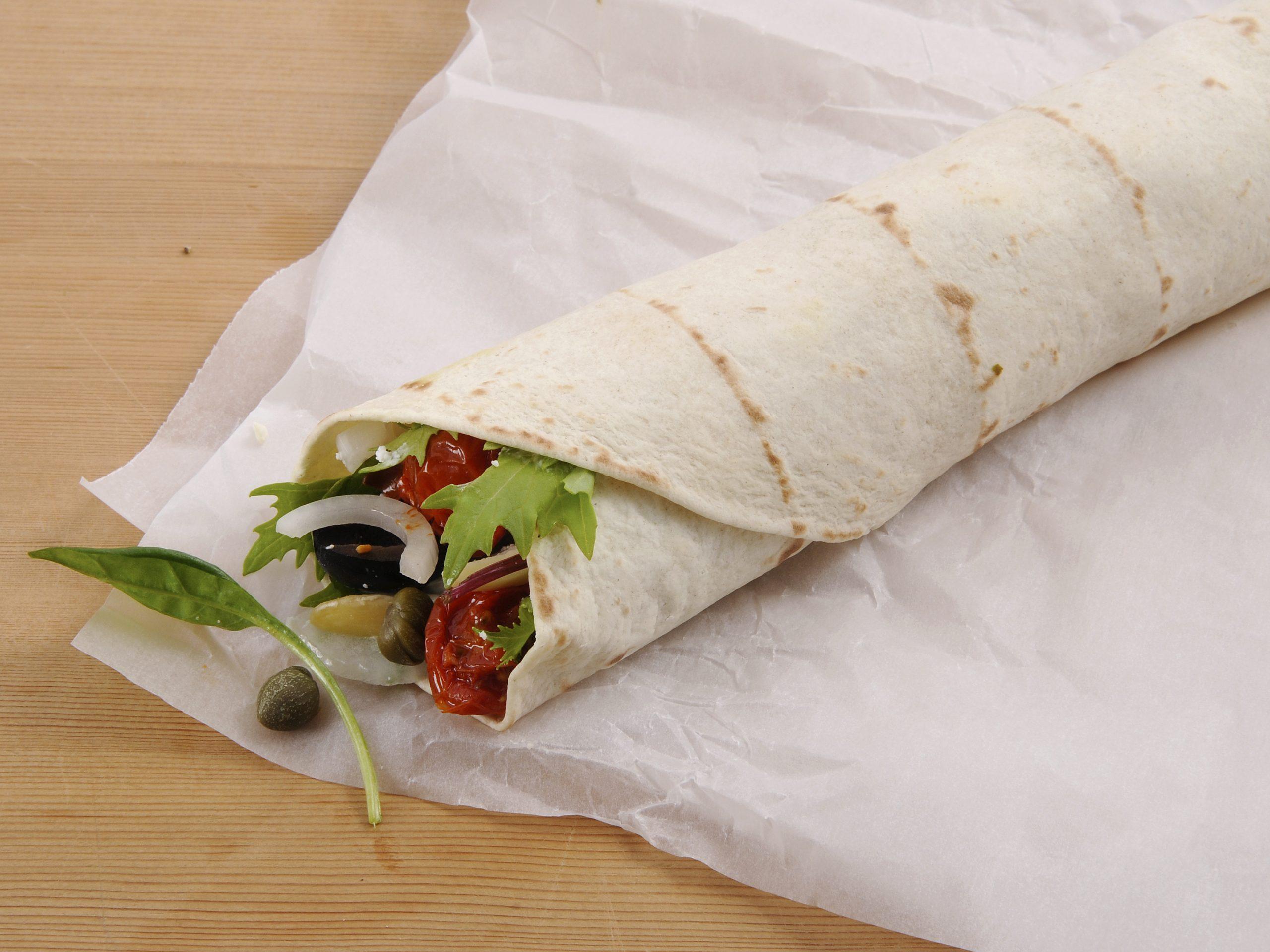Wrap tomates-fromage frais à emporter