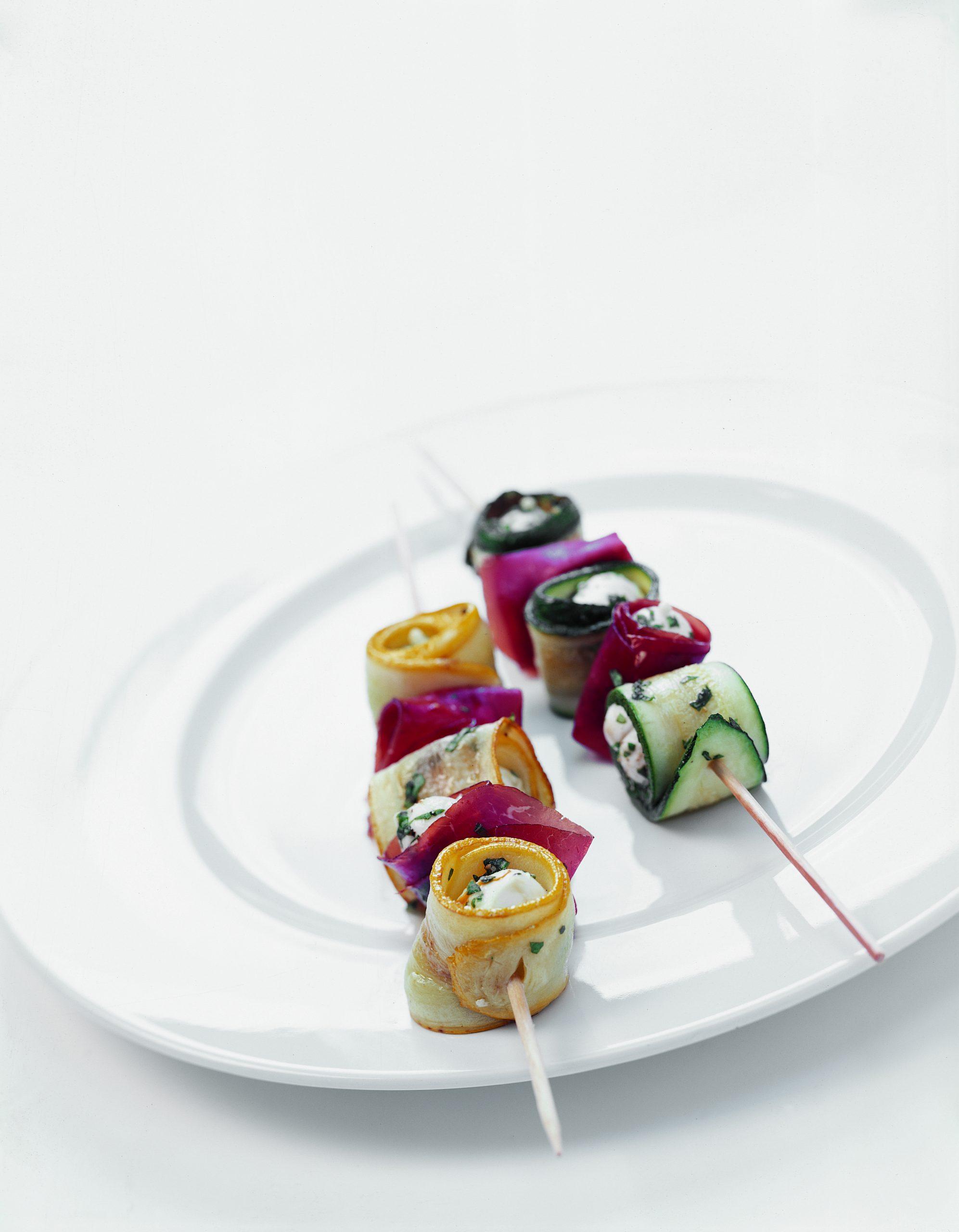 Brochettes de courgettes et de mozzarella